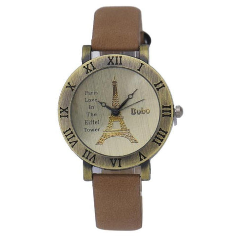 Fashion Women's Watch Leisure Time Faux Leather Analog Tower Clock