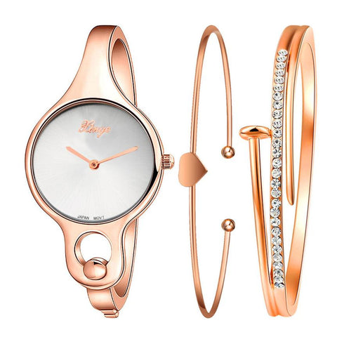Fashion Women's Watch Luxury Sports Gold Rhinestone Bangle Dress