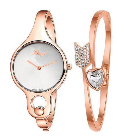 Fashion Women's Watch Gold Rhinestone Bangle Watch And Bracelet Set