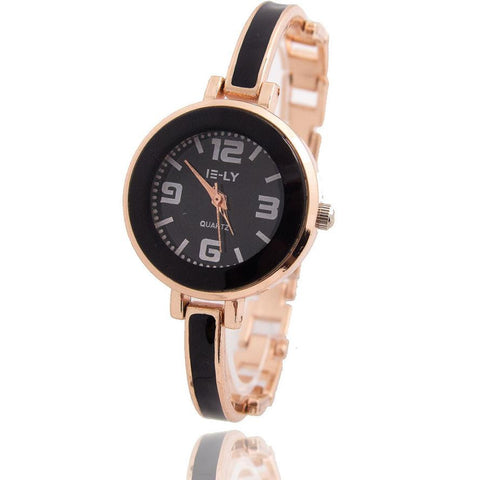 Fashion Women's Watch Rose Gold Plated Bracelet Ceramic Dial Quartz