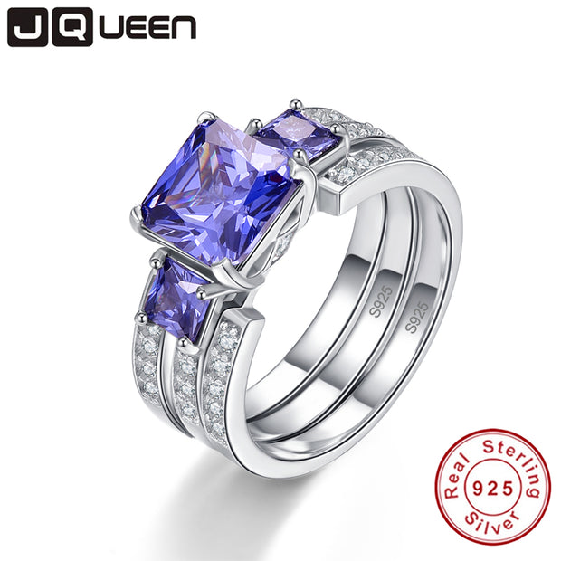 JQUEEN Top Quality Elegant 925 Sterling Silver Engagement Rings 4Ct