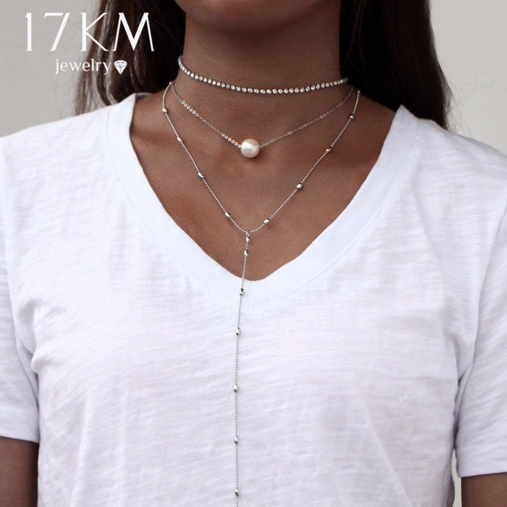 17KM Boho Jewelry Multi Layer Long Choker Necklaces for Women Sexy