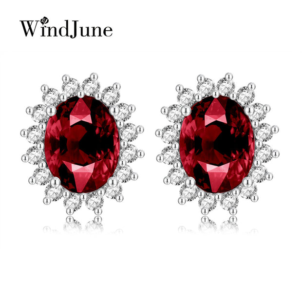 WindJune 2017 New Garnet gemstone stud earrings Authentic 100% 925