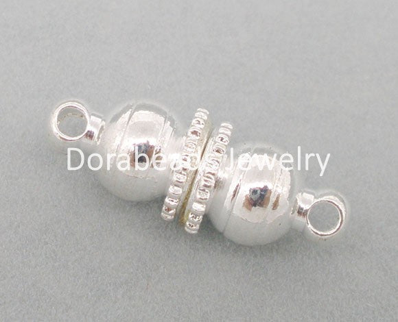 Doreen Box Lovely 10 Sets Silver color Magnetic Clasps 16x6mm Findings