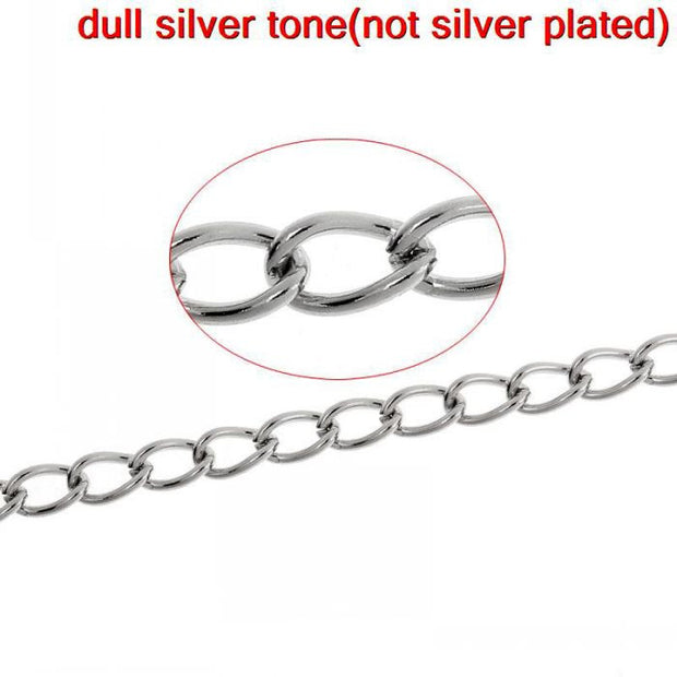 DoreenBeads Stainless Steel Link-Opened Curb Chains Findings Silver