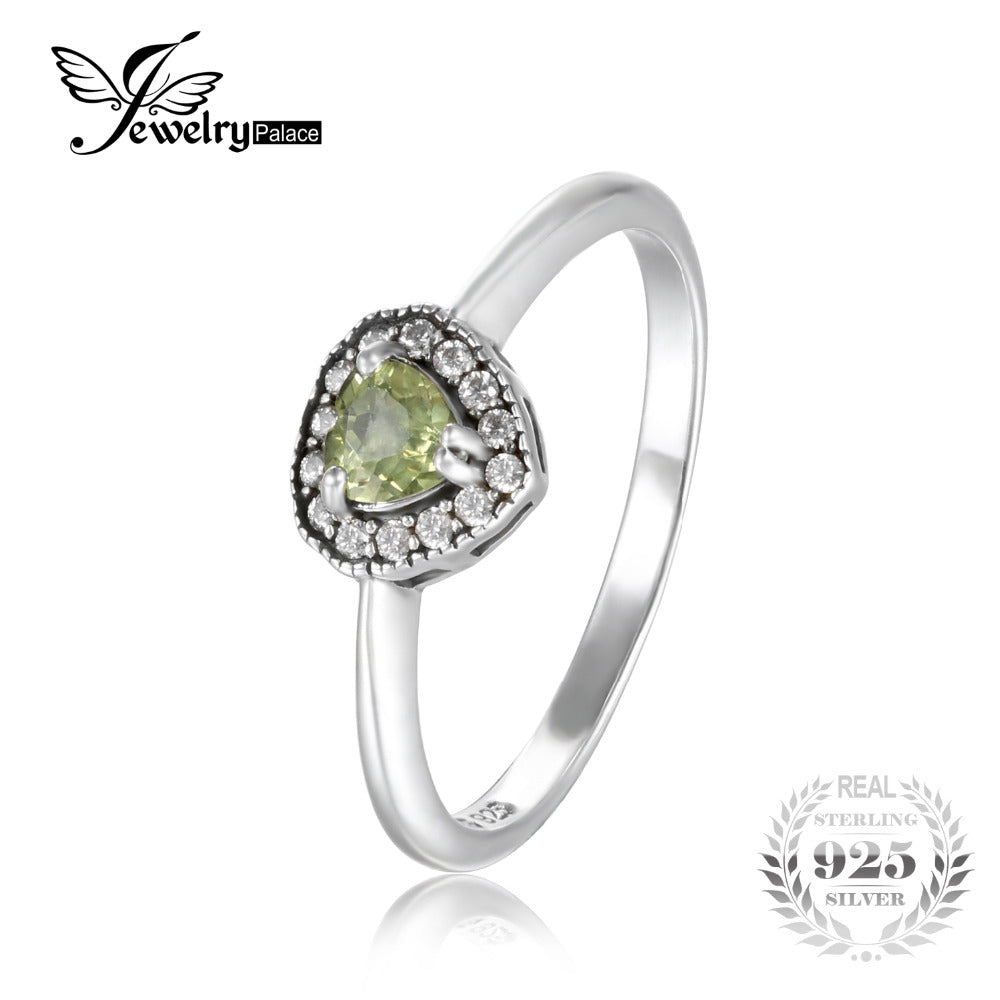 JewelryPalace Romantic 1.34 ct Natural Peridot Heart Engagement Ring