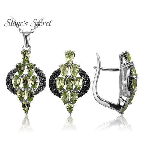 5.89ctw Pear Shape Peridot With .28ctw Round Black Spinel Accents Real 925 Silver Earrings and Pendant Necklace Jewelry Sets
