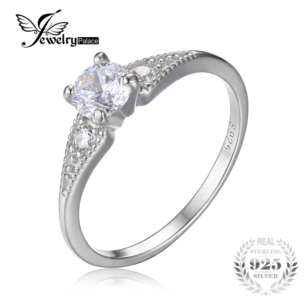 JewelryPalace Wedding 0.7 Cubic Zirconia 3 Stone Engagement Ring For