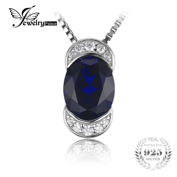 JewelryPalace Luxry 2.75ct Oval-Cut Created Sapphire Pendant