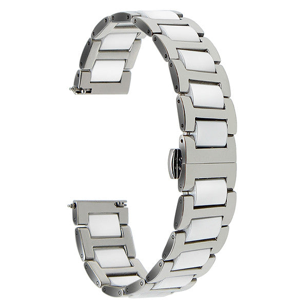 Ceramic + Stainless Steel Watchband Quick Release Watch Band Universal