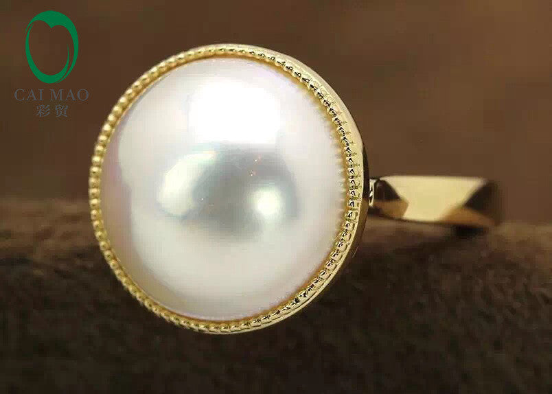 Unisex 14k Yellow Gold Engagement Ring14mm Round  Mabe Pearl Free