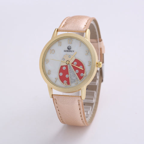 Fashion 2017 New Women's Watch Cute Seven Lady Ladybug Leather Watches