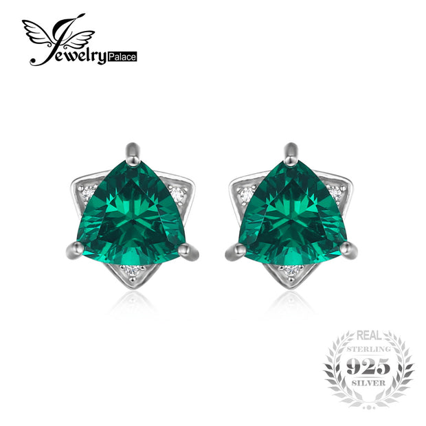 JewelryPalace Triangle Shape 2.22ct Created Emerald Stud Earrings 100%