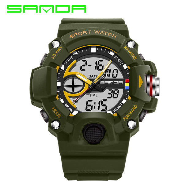 Fashion Brand SANDA Watch Men Digital Quartz Dual Display Sport