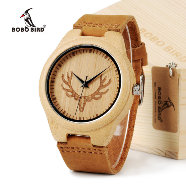 BOBO BIRD Bamboo Wood Watch for Lovers with Cow Leather Strap Quartz