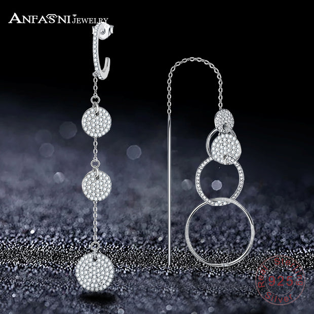 ANFASNI Unique Design 925 Sterling Silver Long Earrings AAA CZ Long