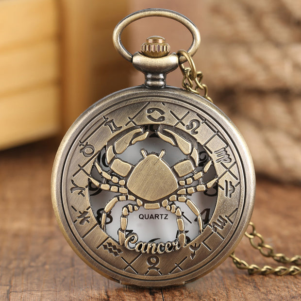 12 Constellation Astrology Zodiac Retro Pocket Watch Bronze Necklace
