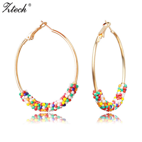 Ztech Big Round Earrings Fashion Jewelry Bohemia Beads Wholesale 50mm Diameter Large Hoop Earrings For Women Girls 6 Colors