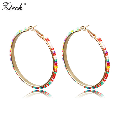 Ztech Round Earrings Fashion Jewelry Bohemia Beads Wholesale 6 Colors Large Circle Statement Hoop Earrings For Women Gift
