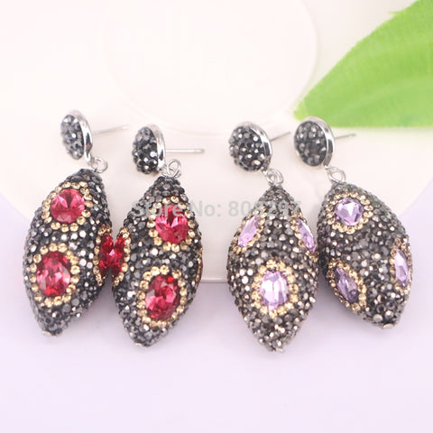 5Pair Olive shape Red/ Pink Color Crystal Charm Pave Rhinestone Dangle Earrings Jewelry For Women
