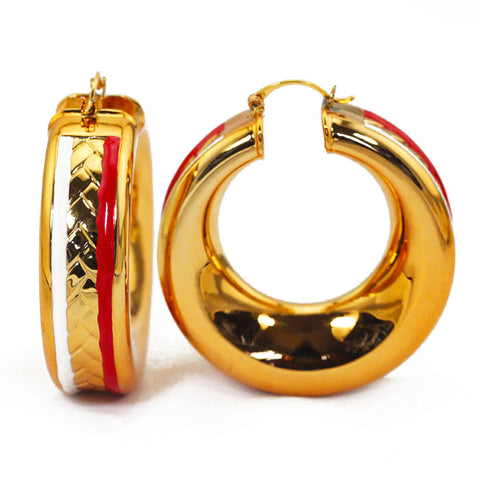 Fashion Large Big Gold Hoop Earrings for Brides Birthday Gift Quality Women Jewelry Round Copper Earrings 2017 NEW EA036