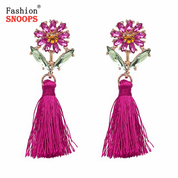 Ethnic Boho Flowers Dangle Drop Earrings Fringe Statement Tassel