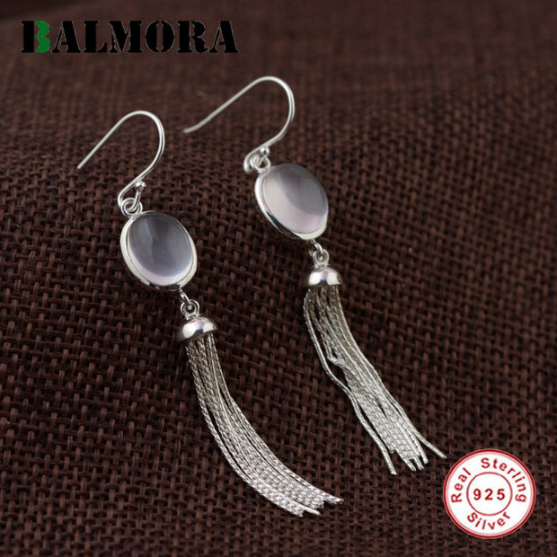 BALMORA 2 Styles Tassel Earrings 925 Sterling Silver Drop Earrings for