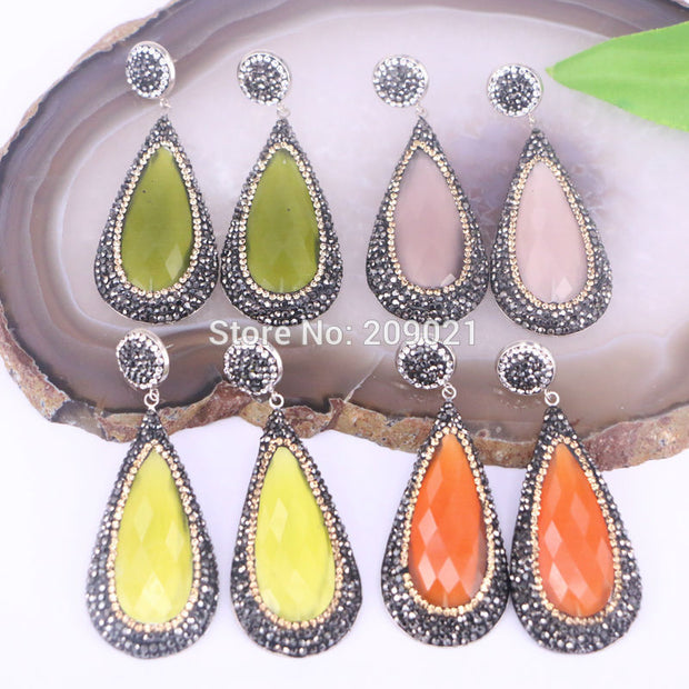 4pair Cat eye stone pave rhinestone teardrop earrings Gems dangle