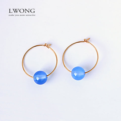 LWONG 2017 Trendy 2CM Gold Color Small Hoop Earrings With Beads Round Circle Earrings for Women Natural Stone Earrings 14 Colors