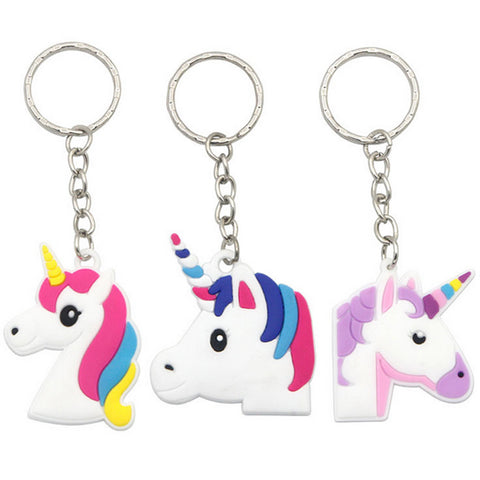100pcs Cute 4 Designs Random Unicorn Keychain Animal Pvc Keychains Women Bag Charm Key Ring Pendant Gifts High Quality T20