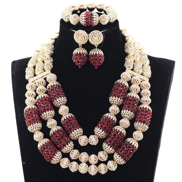 2017 Fabulous Burgundy Wine Nigerian Wedding Crystal Jewelry Sets