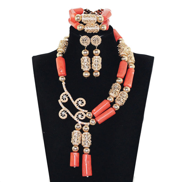 Fashion Jewelry Set African Coral Beads Exclusive Real Coral Pendant