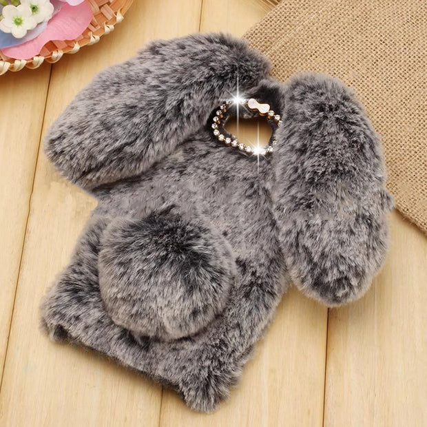Cute Rabbit Hair Soft TPU Bling Phone Case For Samsung Galaxy S8