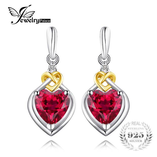 JewelryPalace Love Knot Heart 3.4ct Created Ruby Drop Earrings For