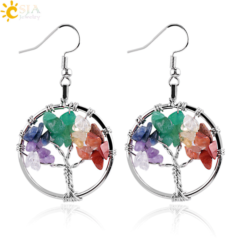CSJA Tree of Life Women Drop Earrings Round Natural Chip Gem Stone