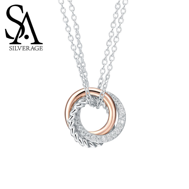 SA SILVERAGE Real 925 Sterling Silver Long Necklaces Pendants Rose