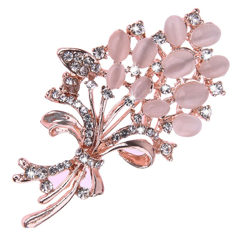 Hot Selling Fashionable Opal Stone Flower Brooch Pin  Garment