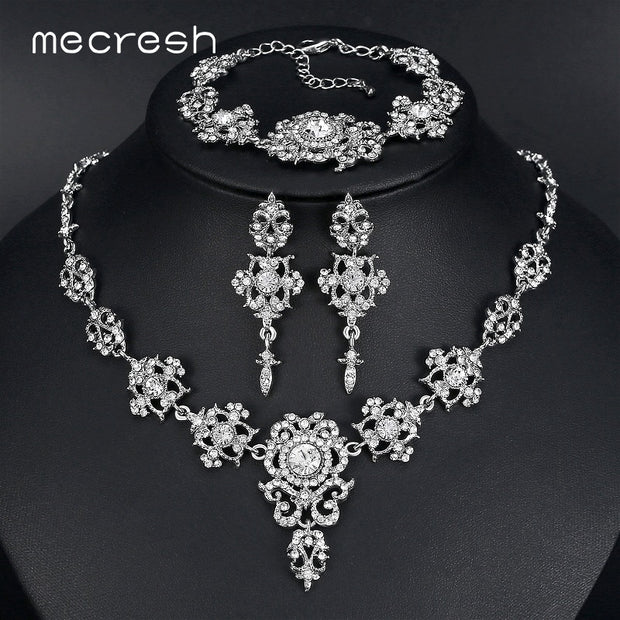 Mecresh Elegant Bridal Jewelry Sets Clear Floral Crystal Necklace