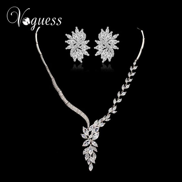 VOGUESS Elegant Zircon Bridal Wedding Jewelry Sets Luxury Choker