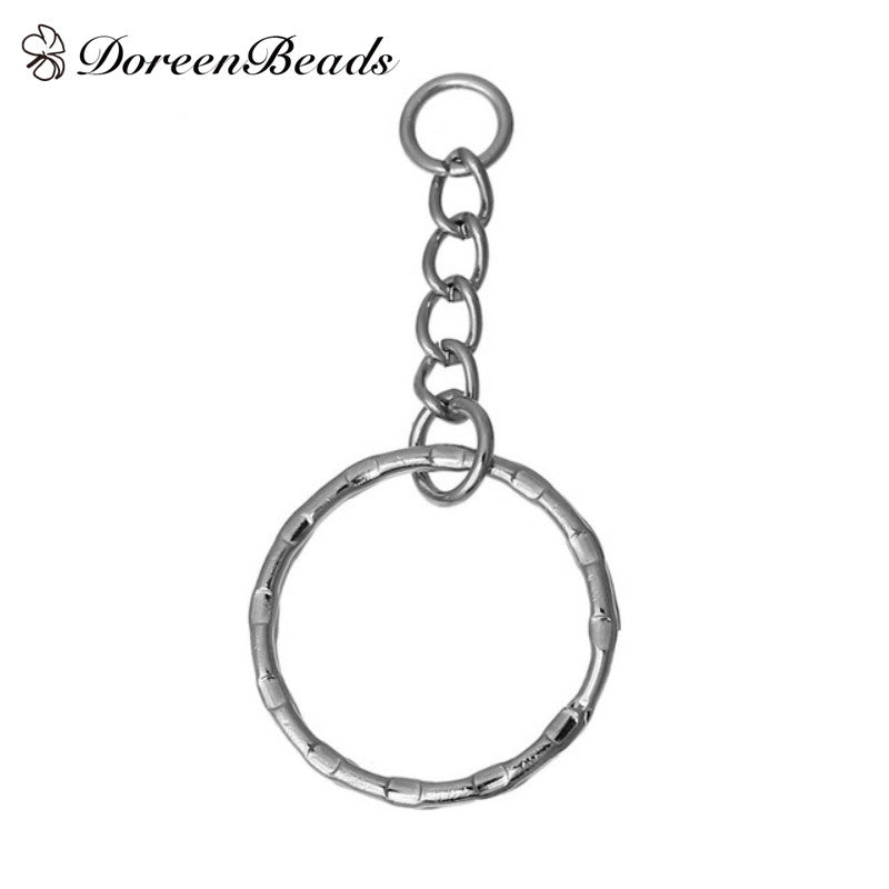 DoreenBeads 30PCs Silver Tone Key Chains & Key Rings Keychain 53mm(2