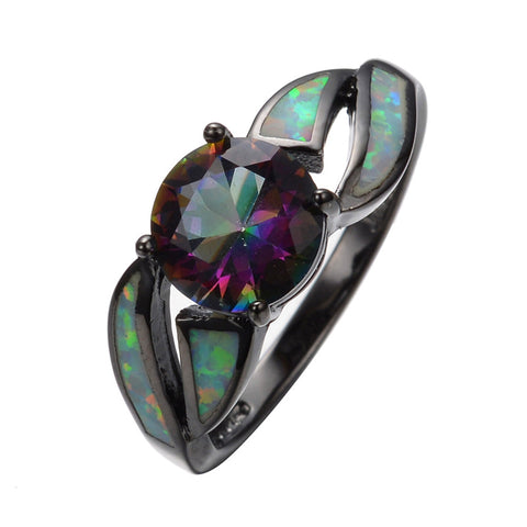 Charming White Fire Opal Ring Colorful Sappjire Men Women Rainbow Jewelry Black Gold Filled Engagement Rings Bijoux Femme RB0276