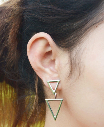 European Fashion Earrings for Women Metal Double Triangle Statement Stud Earrings 2A3008