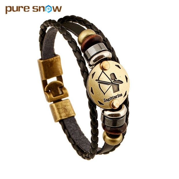 Fashion Bronze Alloy Buckles 12 Zodiac Signs Bracelet Punk Leather