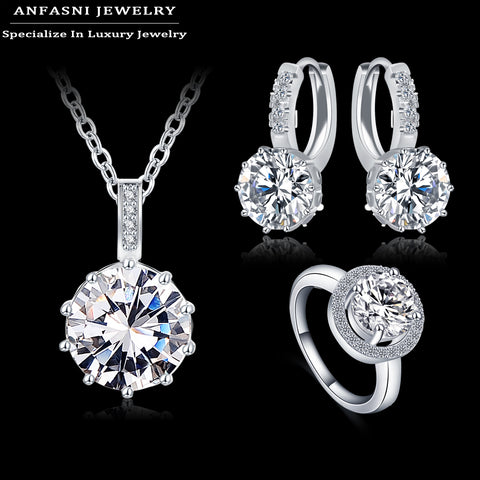 ANFASNI 2016 Fashion Wedding Jewelry Sets For Brides AAA  Zircon Round Necklace/Earring/Ring Femme Jewelry Set CST0034-B