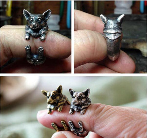 Vintage Silver Black Bronze Boho Chic Welsh Corgi Dog Ring Animal English Dog Ring Hippie Brass Knuckles Rings for Women JZ318