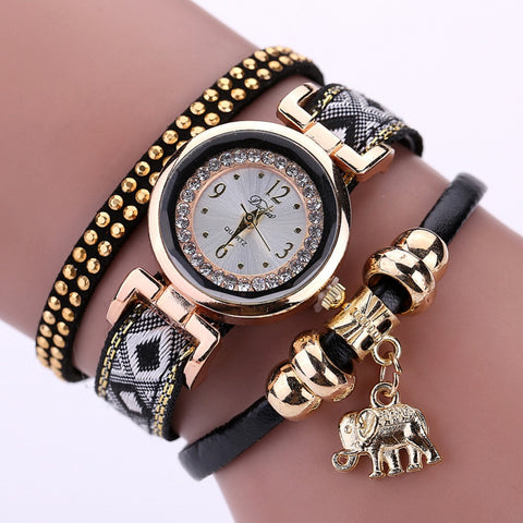 Luxury Brand New Women's Watch Fashion Gold Elephant Pendant