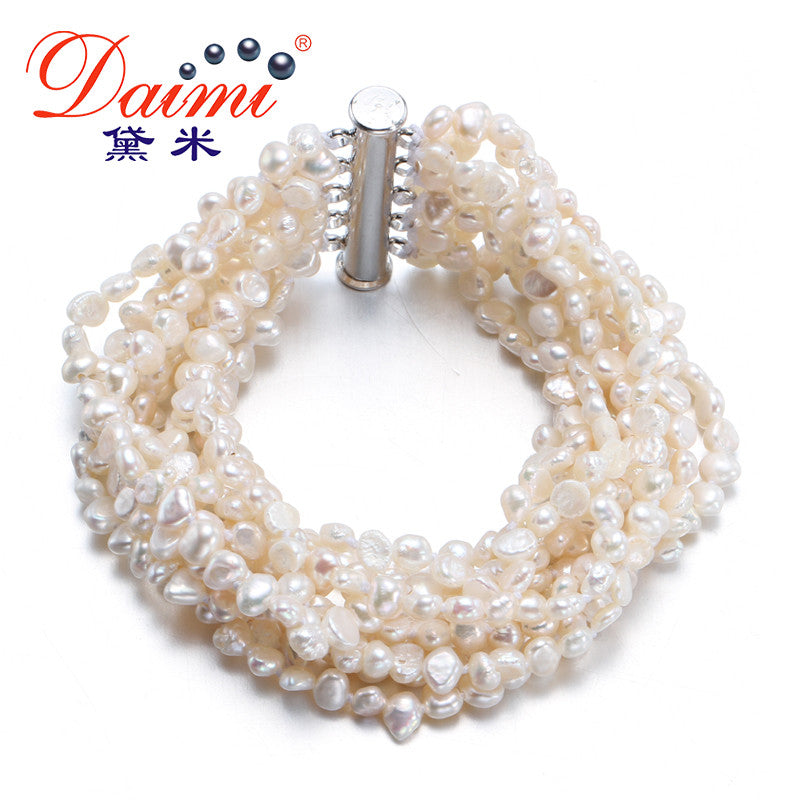 [Daimi] Gorgeous Bracelet 10 Strand Freshwater Pearl Together
