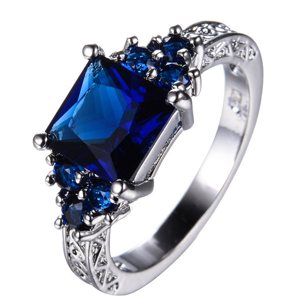 Princess Cut Blue Sapphire CZ Diamond Rings for Women Wedding Band