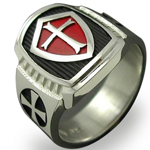 Size 7-15 Stainless Steel Titanium Red Armor Shield Knight Templar Crusade Cross Ring Medieval Signet Retro Vintage