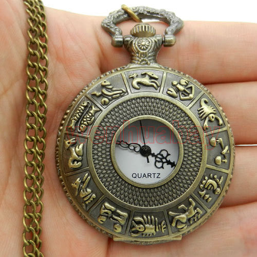 Dial 4.5 cm SteamPunk Style Constellation Zodiac Pocket Watch